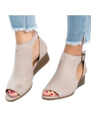 88120d00c7d Plain Mid Heeled Velvet Ankle Strap Peep Toe Casual Peep-Toe Wedges ...