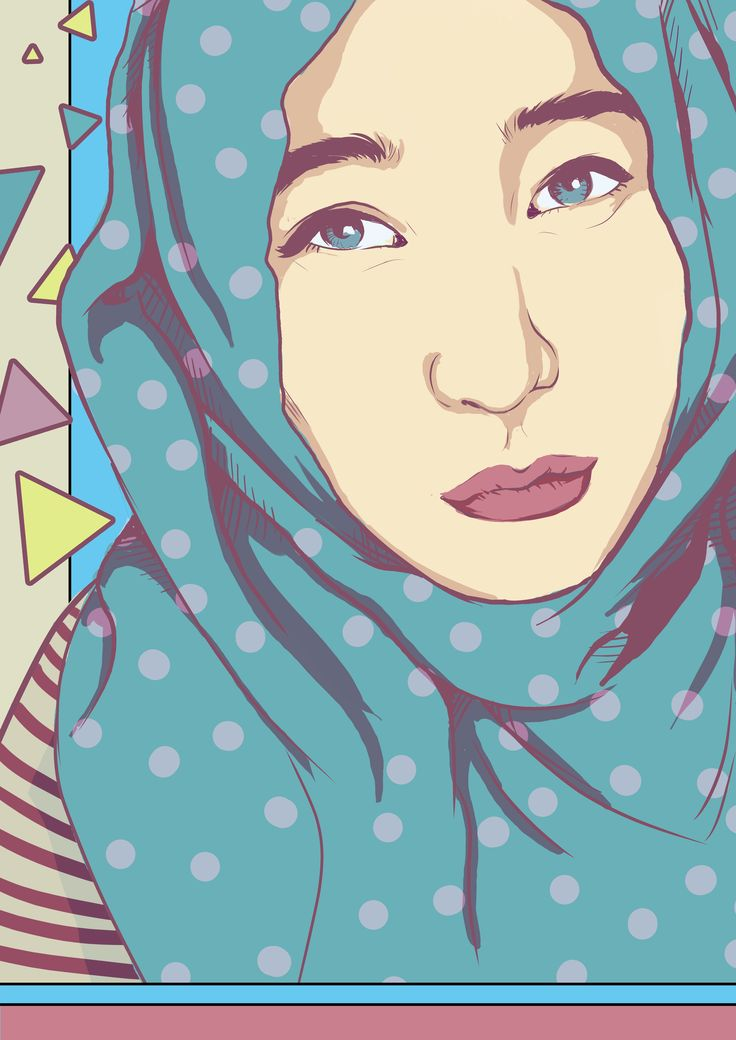 hijab girl 2, try for line art and pastel colors :) - art by gigondgrimlock
