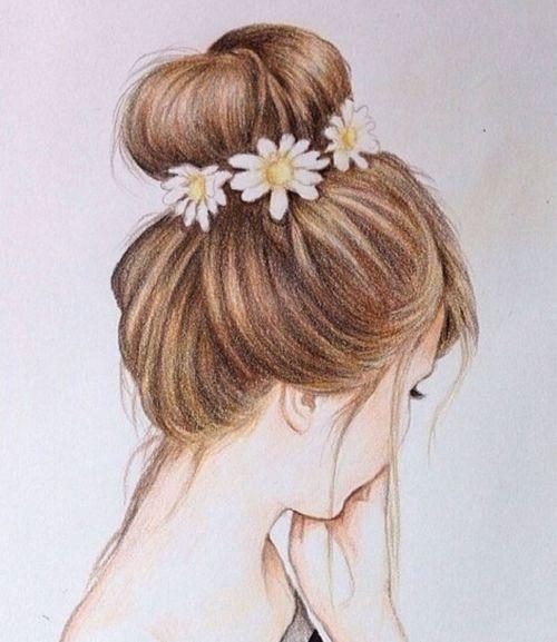 draw, drawings, flower crown, flowers, girl, hair, makeup, style