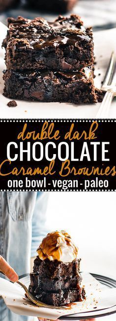 One bowl vegan desserts like these double dark chocolate salted caramel brownies are easy to make and paleo. These one bowl vegan brownies are made with two kinds of dark chocolate an topped with a dairy free salted caramel sauce. The perfect rich fudgy taste and texture! www.cottercrunch.com