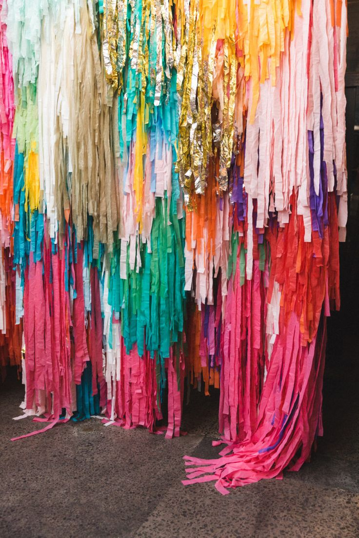 colourful streamer wedding backdrop