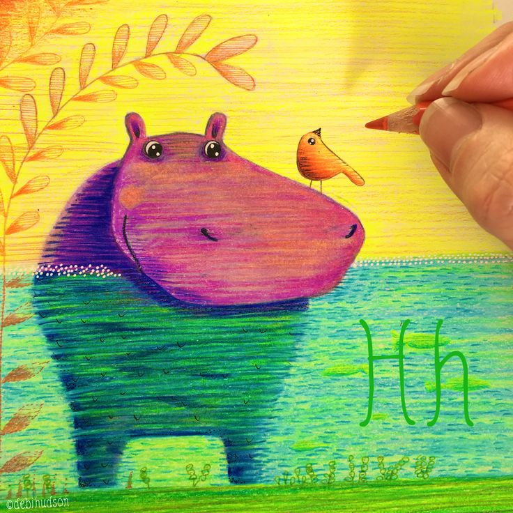 H for Hippo in coloured pencil by Debi Hudson