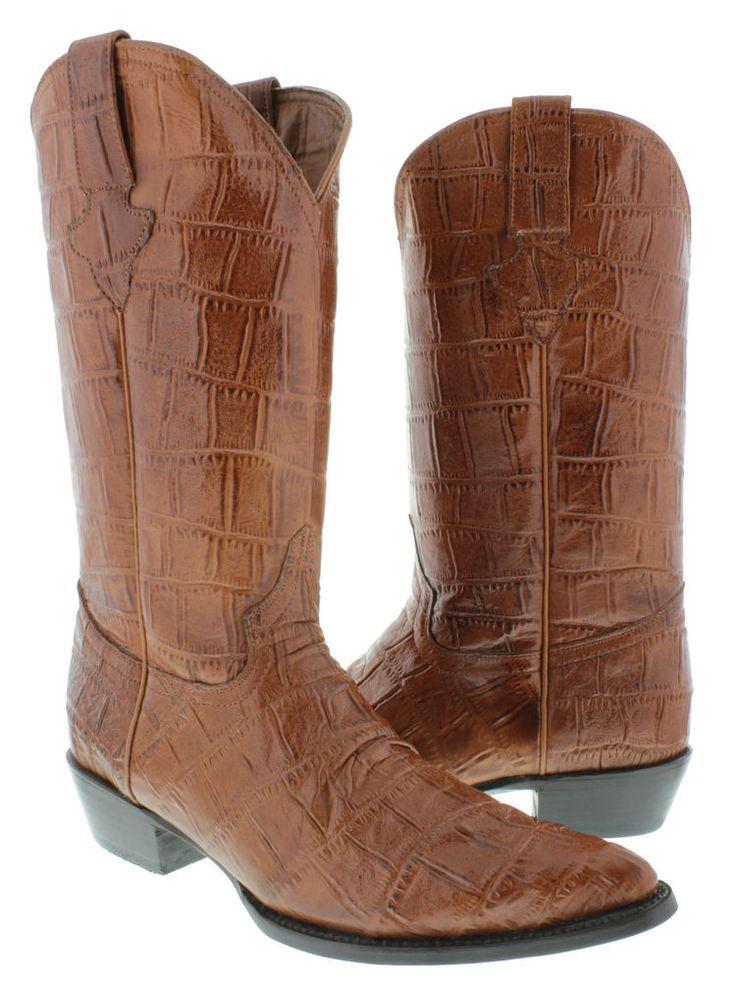 Men's cowboy boots brown cognac crocodile alligator big belly design #ElPresidente #CowboyWestern