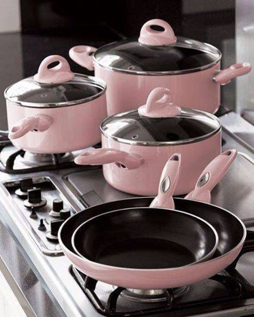 Light pink pots and pans...