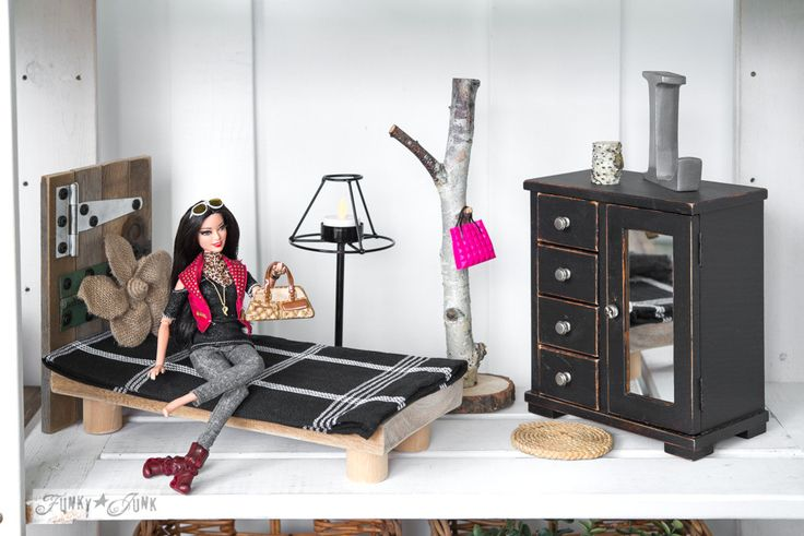Barbie Style with reclaimed wood bedroom furniture / Upcycled dollhouse furniture! On FunkyJunkInteriors.net