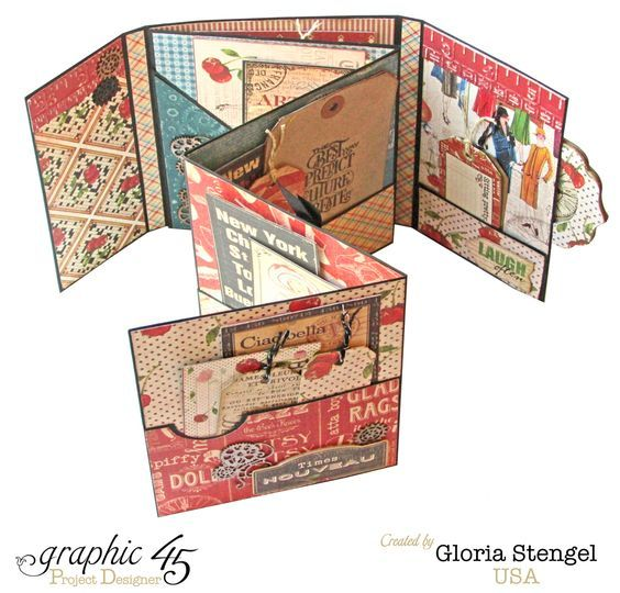 This Gloria Stengel mini album is decorated with coordinating colors of red, blue, and black from the Times Nouveau Deluxe Collector's Edition, Home Sweet Home, Couture, and Typography Collections.