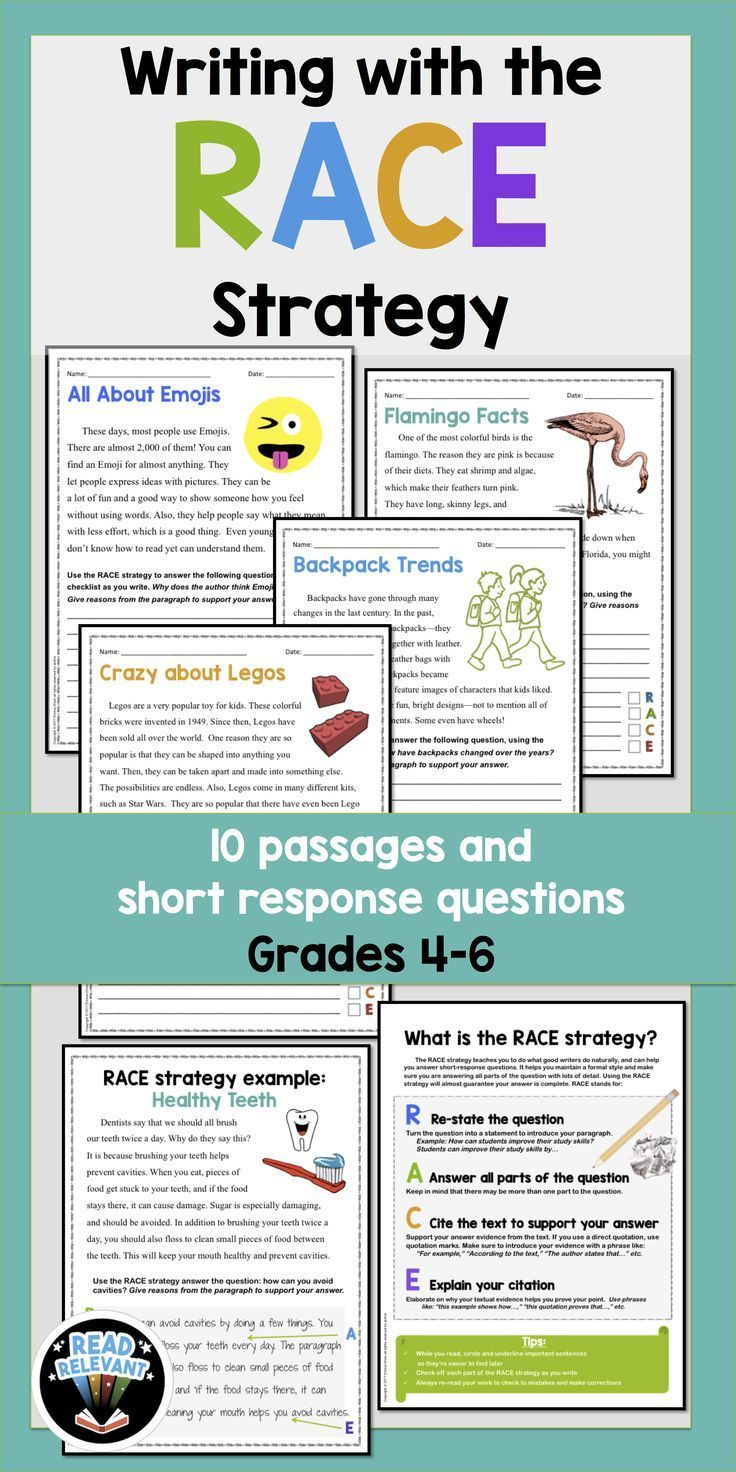 RACE is a structure to help students answer passage-based, short response questions in a formal style, with using clear reasons and evidence from the text, and to provide concluding statements.   This mnemonic device is especially helpful for struggling w