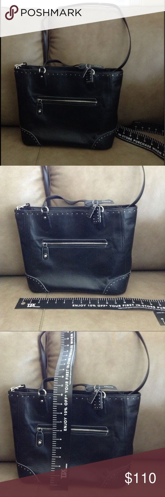 Authentic Coach tote Authentic Coach tote. Black Leather. Excellent used condition. Inside Ipad pocket. Turn key zipper lock on Coach Bags Totes
