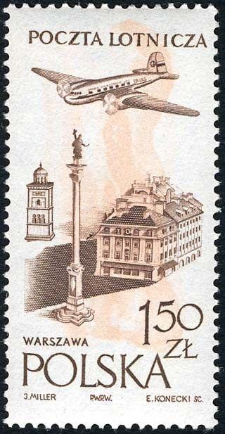 Znaczek: Royal Castle in Warsaw (Polska) (Poczta lotnicza) Mi:PL 1036,Sn:PL C42,Yt:PL PA42,Pol:PL 891