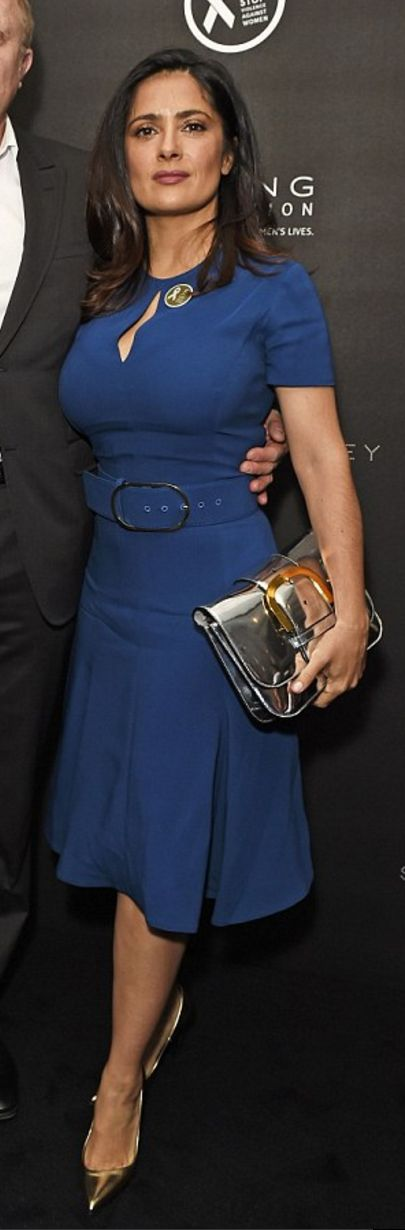 Who made  Salma Hayek's blue belted dress?