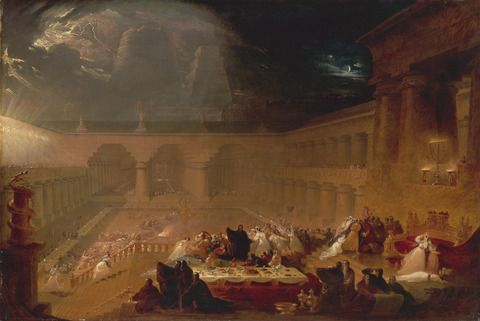John Martin, 1789–1854, British, Belshazzar's Feast, 1820, Oil on canvas, Yale Center for British Art, Paul Mellon Collection