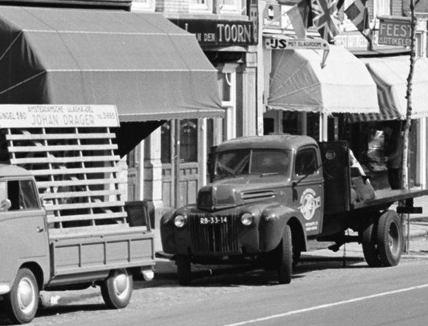 1958. Ford Truck (RB-33-14) parked on busy street in Amsterdam. #amsterdam #1958