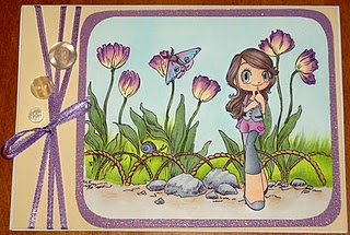 This is another card using the same background from Make it Crafty, but a different Some Odd Girl Image.  I didn't use any glitter on this image. The ribbon was colored with a copic marker.