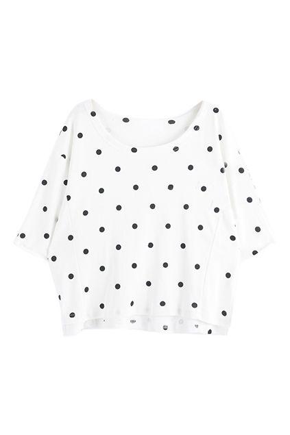 ROMWE | ROMWE Polka Dot Print Batwing Split White T-shirt, The Latest Street Fashion