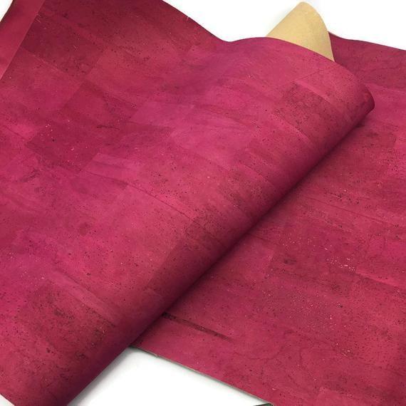Cork Fabric Pink Fuchsia 50x68 cm Portuguese cork leather  27.50x20