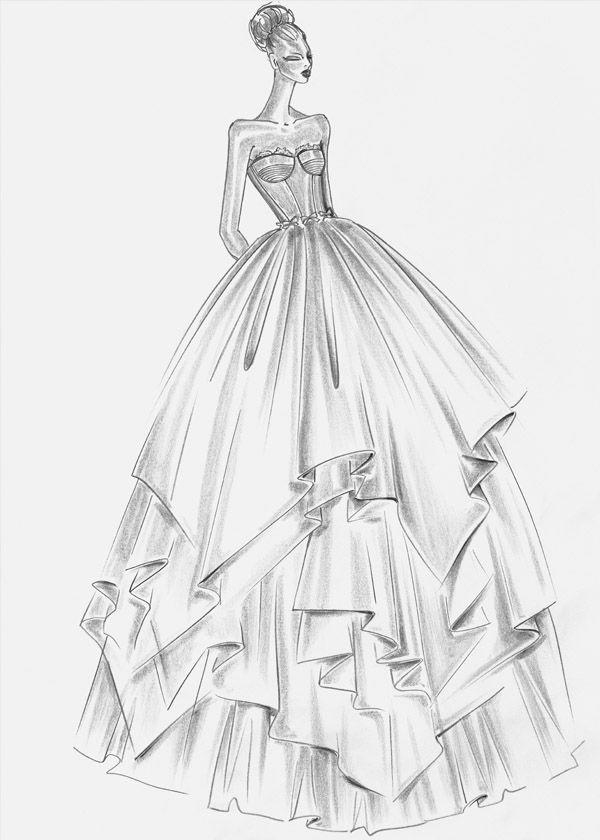 Increible boceto de uno de los vestidos mas espectaculares de Rosa clara