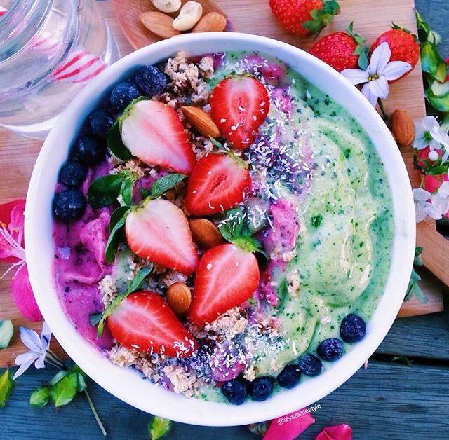 pinterest - chloealdersonn ✩  food, healthy, fat, burger, chips, sushi, chocolate, milkshake, salad, fruit, vegetable, acai, yoghurt, toast, donuts