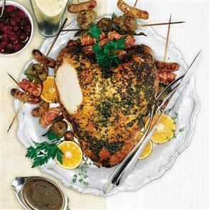 Roast turkey crown with lemon, parsley and thyme