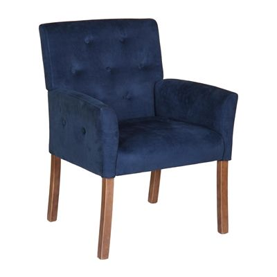 Boss Office Products B669DW-BV Taylor Chair #home decor sale & deals Upholstery:Blue Velvet, Finish:Driftwood Taylor Chair Contemporary accent guest/reception chair with button-tufted back and arms Assembly required...