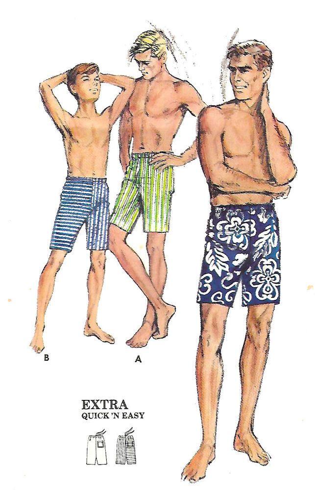 2a03ae4b8d Vintage 1960's Sewing Pattern Men's Shorts Swim Shorts Medium Waist 32
