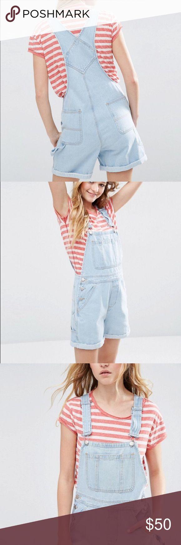 ASOS Denim Short Overall In Bleach Wash Worn once brand new ASOS Dresses