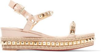 Christian Louboutin - Cataclou 60 Embellished Patent-leather Wedge Espadrille Sandals - Beige - $795.00