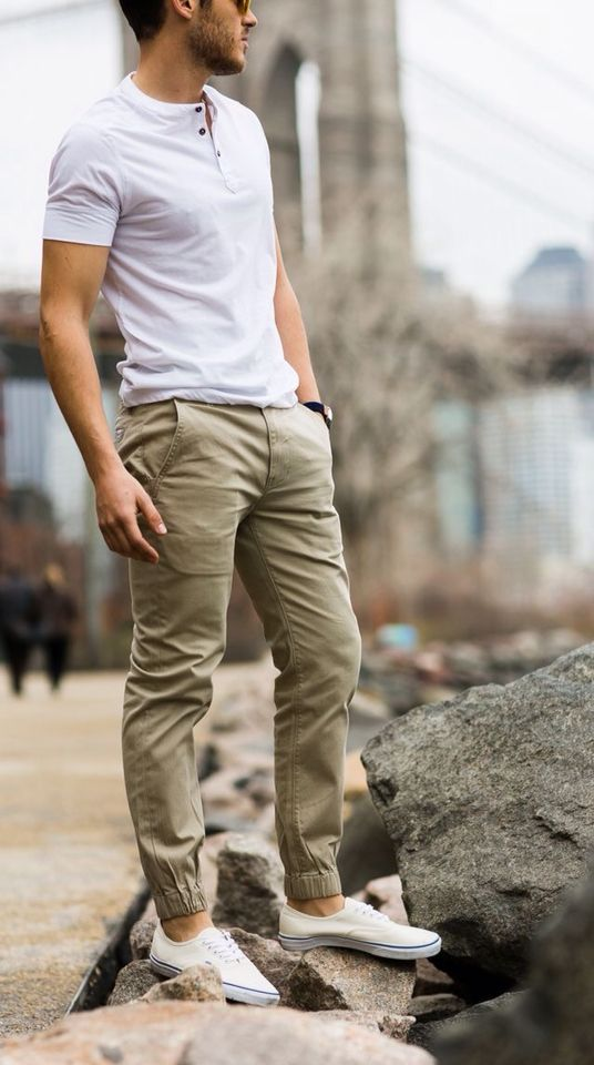 Hot & Trendy Spring-Summer'17 Street Looks! Follow rickysturn/mens-casual for the latest Men's Casual Trends. White Henley, Khaki Joggers and White Sneakers - a winning combination!