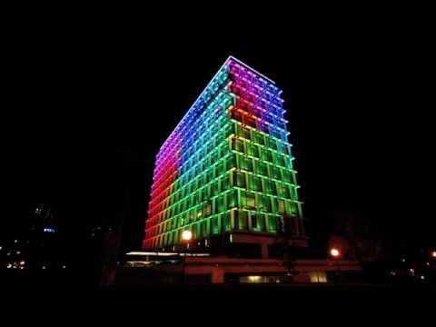 """""""Cities are getting more colorful all the time. Just check out these cutting-edge buildings, which use giant LEDs to display cool animations — and turn your cities into massive Lite Brites. - Council House, Perth, Western Australia, a 13-story office building, designed by Howlett and Bailey Architects and opened by The Queen 1963."""""""