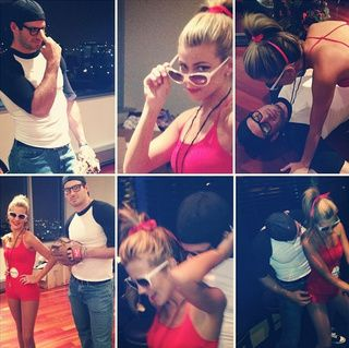 Minnesota Vikings quarterback Christian Ponder and wife Samantha Ponder dressed as Squints and Wendy Peffercorn (the lifeguard) from The Sandlot.