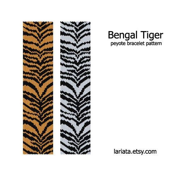 Bengal Tiger Skin Peyote Bracelet Pattern INSTANT by lariata, $5.99