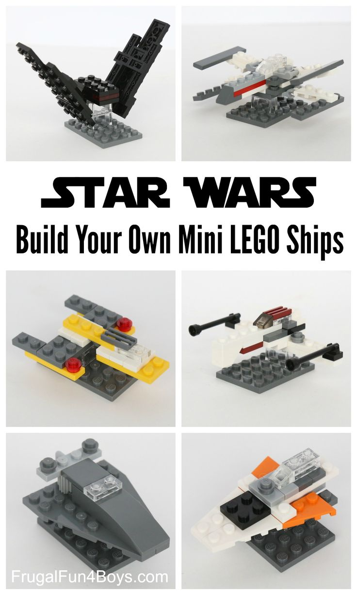 Build Your Own LEGO Mini Star Wars Ships - Pocket sized LEGO ships!  Fun building challenge for kids.  There are instructions for the X-Wing and the others are easy to build from the pictures.