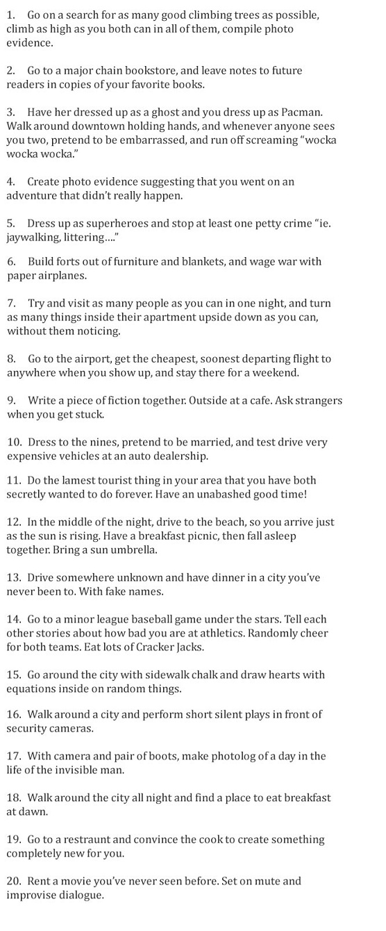 These are really cute date ideas! I would loooooooove to actually do these...