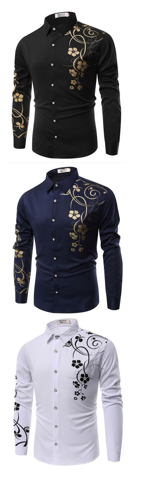 Men's Casual/Daily Simple Spring Fall Shirt,Floral Classic Collar Long Sleeves Cotton Shirt