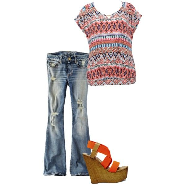 S/S coral jeans outfit by jamie-painter on Polyvore featuring polyvore fashion style M&Co American Eagle Outfitters Steve Madden