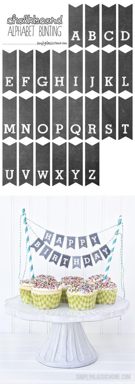 Buchstaben für Girlande zum Ausschneiden