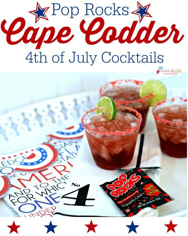 This red drink is perfect for the 4th of July, with the Pop Rocks rim adding it's own fire works! Cap Codder recipe at TidyMom.net