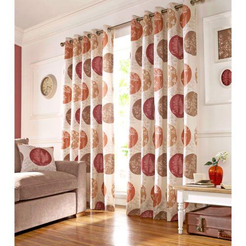 Brightwood Ashley Wilde Curtains Ready Made Beige Red Orange Eyelet Curtain Pair | eBay