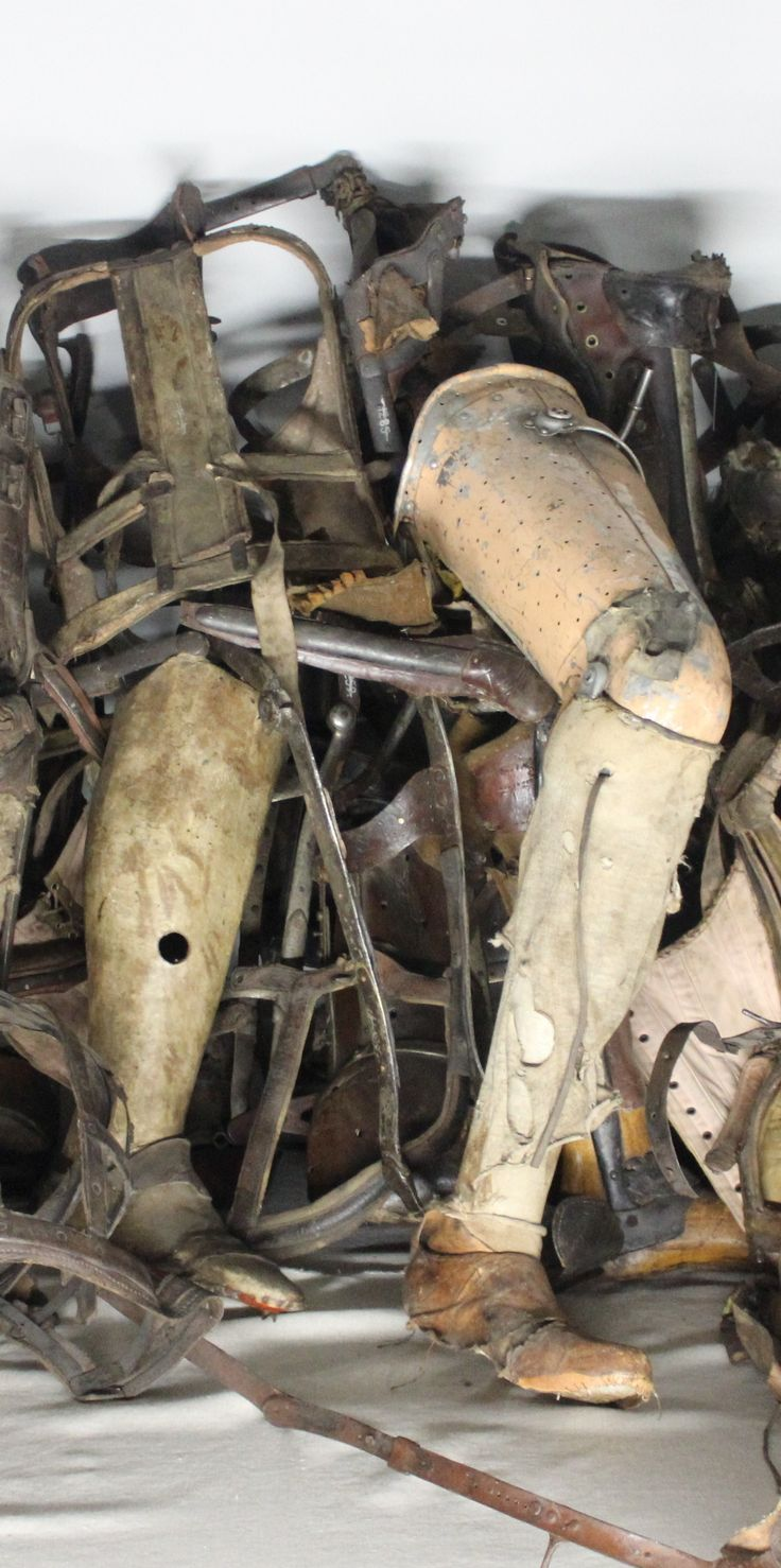 Collection of prisoner's prosthetic limbs at Auschwitz concentration camp, Poland. Most prisoners during WWII who had a disability were immediately sent to the gas chambers.  www.travellinghistory.com