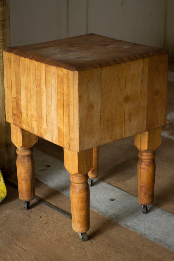 antique butcher block ~ I really need wheels on mine.  And I need mine out of the garage and into the kitchen even if we use for a wine serving station!