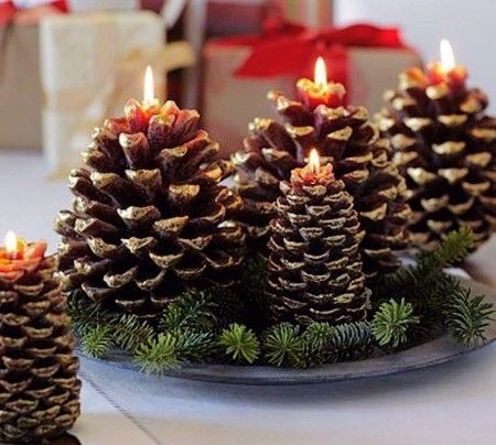 Easy Christmas table decorations with candle and candleholder