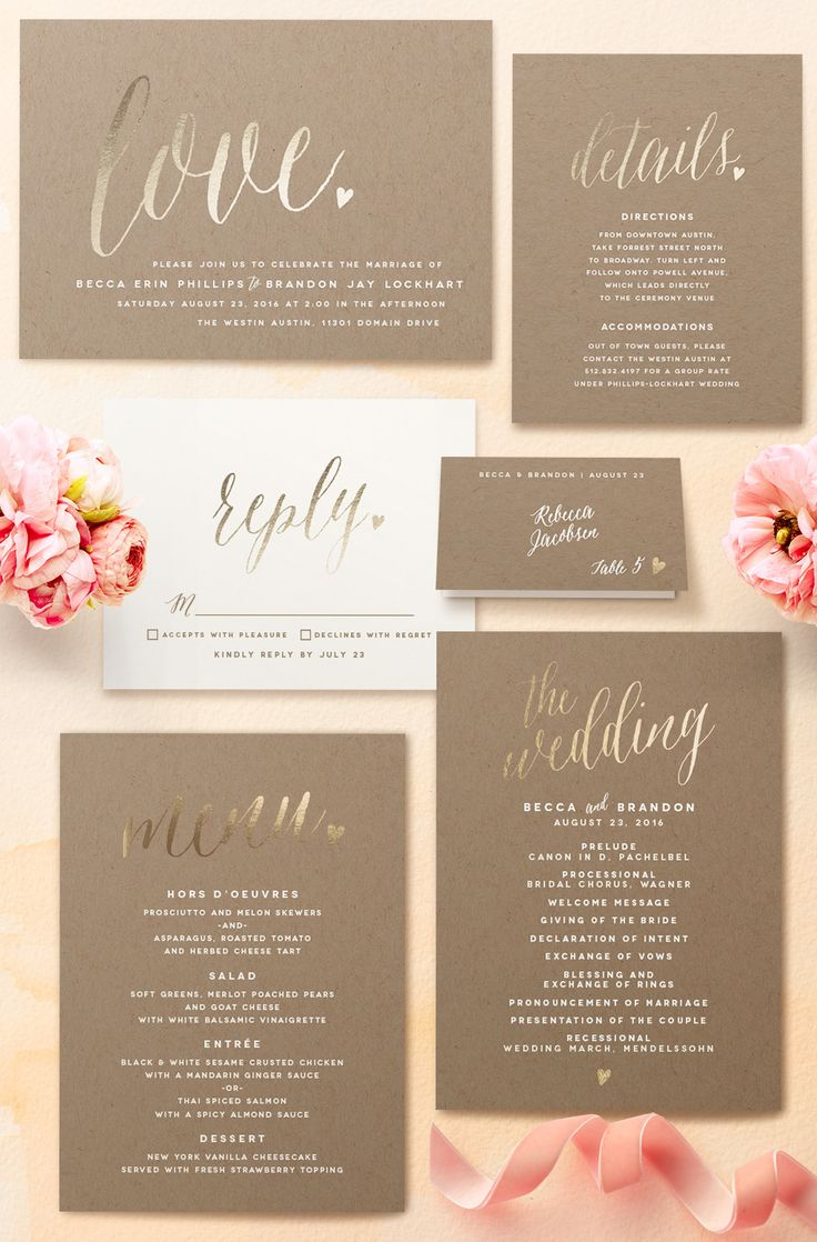 Charming love foil-pressed wedding invitations from Minted.
