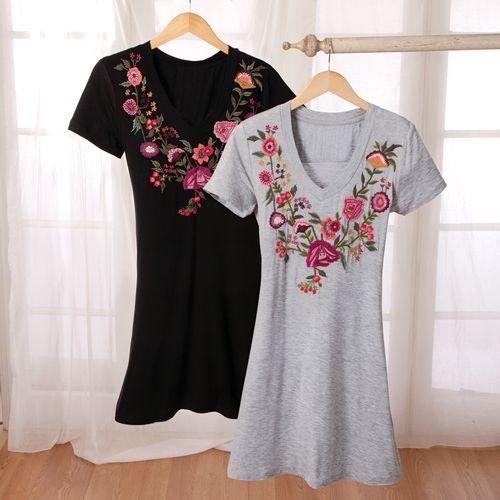 Embroidered T-Shirt Dress - Acacia