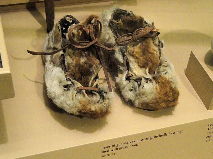 Shoes, guanaco skin, Selknam people (Ona) - South American objects in the American Museum of Natural History ♥