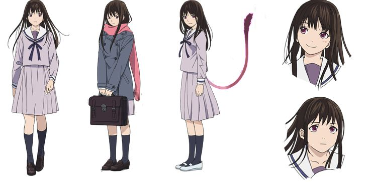 "Hiyori Iki (壱岐 ひより Iki Hiyori) is the main female protagonist of the Noragami series. She became a Half-Ayakashi after ""saving"" Yato from an incoming bus, with the ability to leave her human body. Hiyori's appearance is that of a rather attractive yet average school girl. She has long dark hair which is colored dark brown and light eyes that are colored magenta in the anime and brown in the manga. She appears to be petite and she's often seen wearing her middle school uniform, which…"