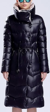 High-Collar Thick Hooded Puffer Down Coat in Dark Blue