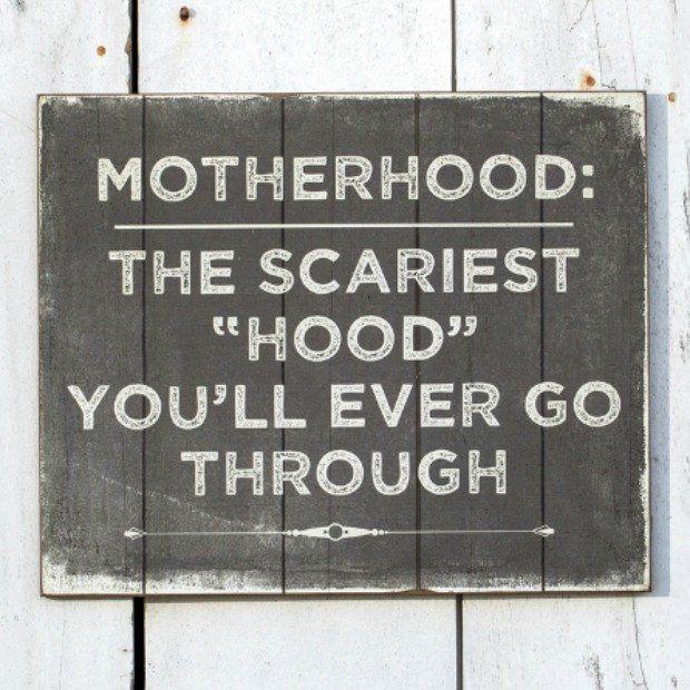 Wooden u201cMotherhoodu201d Sign