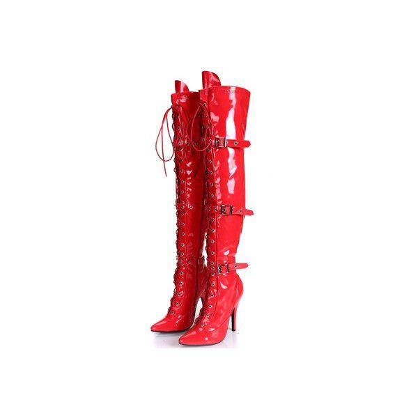 Moda Tacones Altos Cintas de Alta Del Muslo Botas Sexy de Las Mujeres... ❤ liked on Polyvore featuring accessories, boots and rojas