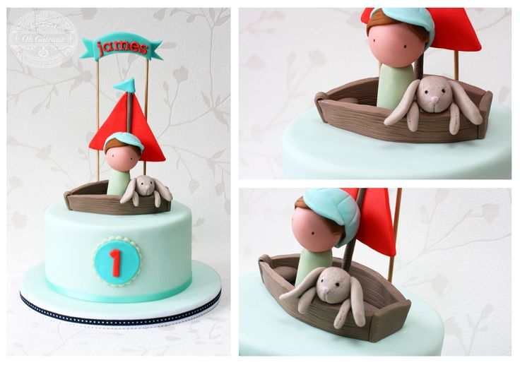 1st Birthday cake for baby James and his little bunny teddy. Design by Oh Gateaux