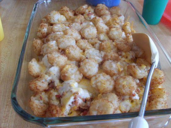 Cheesy Chicken, Bacon And Tater Tot Crock Pot Bake Recipe - Food.com