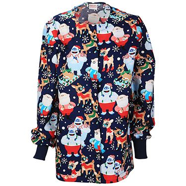 This Tooniforms by Cherokee Women's Crew Neck Christmas Print Warm-Up Scrub Jacket is a perfect addition to your winter scrub set. Stay cozy and seasonal with Rudolf the Rednosed Reindeer.